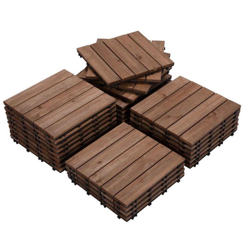 Yaheetech Holzfliesen, 27 Stück 30x30 cm Bodenbelag aus Tannenholz, Bodenfliesen für Terrassen und Balkon, Balkonfliesen Terrassefliese Klickfliesen, 5 Latten Fliese, wetterfest, braun