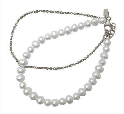Loviconi Perlenarmband »LOVpearl Perlen Armband Damen Silber 925 - Silber & Silber vergoldetes Armkettchen mit echten Süßwasserperlen - doppelreihiger Armschmuck Perle Bracelet«, In der Länge bis 20cm einstellbar