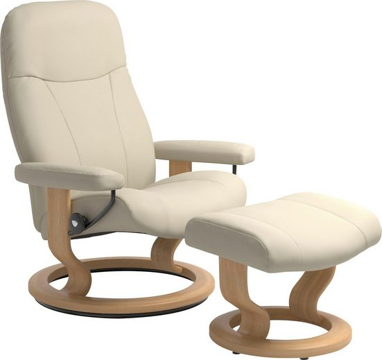 Stressless® Relaxsessel »Garda« (Set, Relaxsessel mit Hocker), mit Hocker, mit Classic Base, Größe M, Gestell Eiche