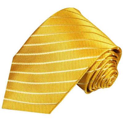 Paul Malone Krawatte »Designer Seidenkrawatte Herren Schlips modern gestreift 100% Seide« Schmal (6cm), gold 899