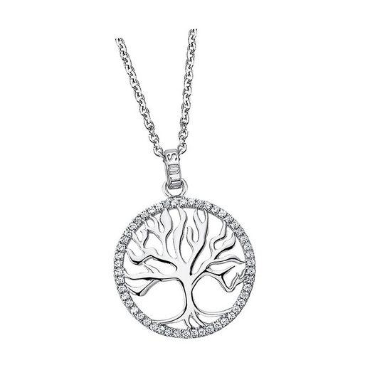 LOTUS SILVER Silberkette »JLP1779-1-1 Lotus Silver Lebensbaum Halskette« (Halsketten), Damen Kette Lebensbaum aus 925 Sterling Silber, silber, weiß