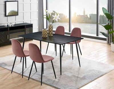 Leonique Essgruppe »Eadwine«, (Set, 5-tlg), bestehend aus Eadwine Esstisch 120 cm und 4 Eadwine Esszimmerstühlen