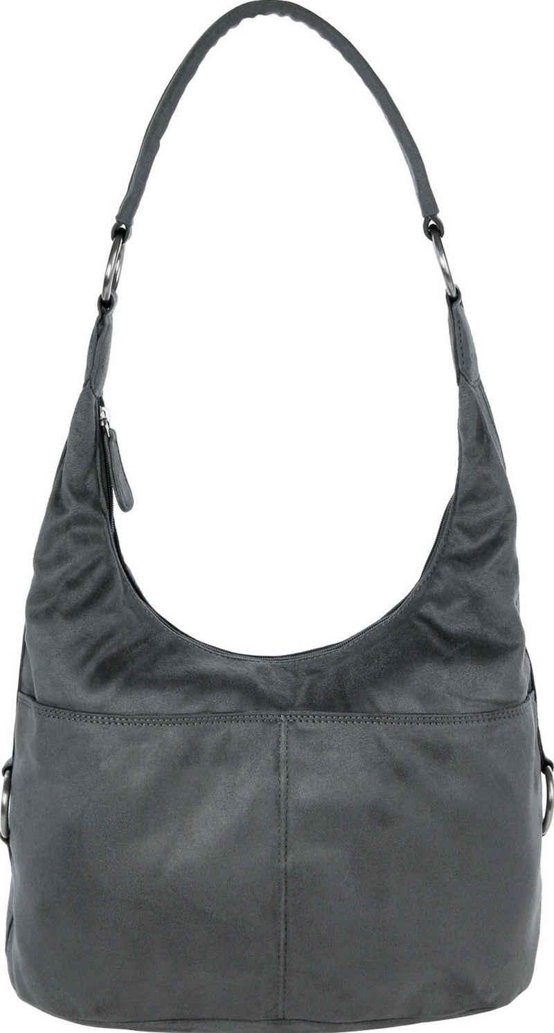 DrachenLeder Beuteltasche »OTS100X DrachenLeder Damen Beuteltasche Tasche« (Beuteltasche), Damen Beuteltasche Kunstleder, grau, ca. 37cm x ca. 18cm