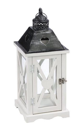 Dehner Gartenfackel »Laterne Marie, Holz/Metall, weiß/schwarz«