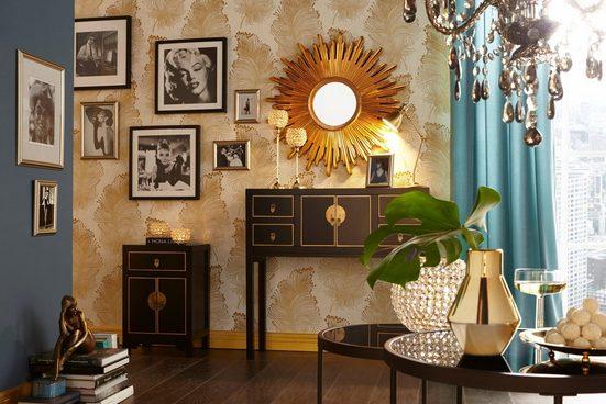Leonique Beistelltisch »Noëlle«  mit Spiegelglasplatte und goldfarbenem Metallgestell