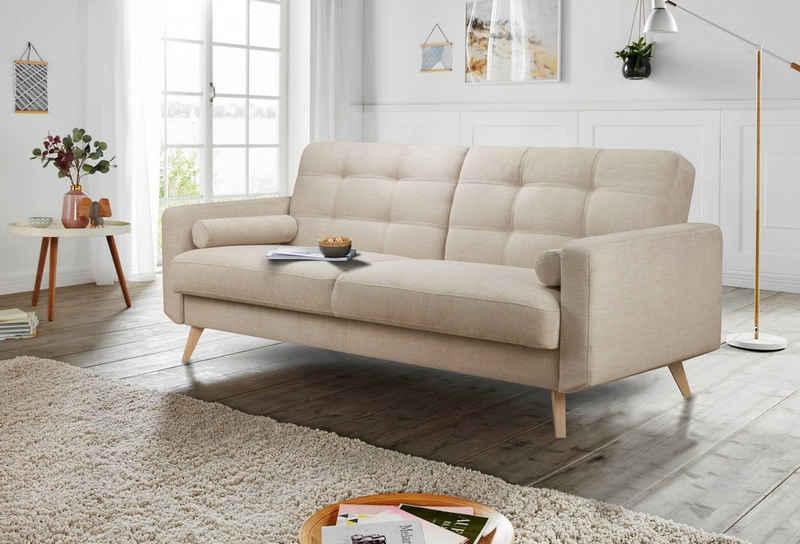 andas 3-Sitzer »Jelle«, auch mit Bettfunktion und Bettkasten, inkl. Rollkissen