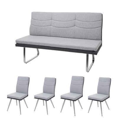 MCW Esszimmerstuhl »MCW-G54-5« (Stühle ohne Armlehne), 4er-Set, inklusive 3-Sitzer Bank, mit Ziernaht, abgerundete Ecken und Kanten, mit Fußbodenschoner