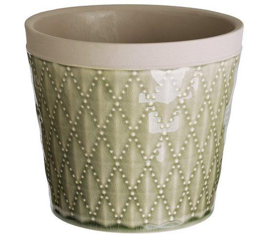 Dehner Dekovase »Keramiktopf, rund, glasiert, hellgrün«