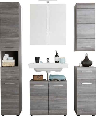 trendteam Badmöbel-Set »Skin«, (Set, 5-St), Spiegelschrank mit LED-Beleuchtung, Schränke mit Fronten in Hochglanz- oder Holzoptik