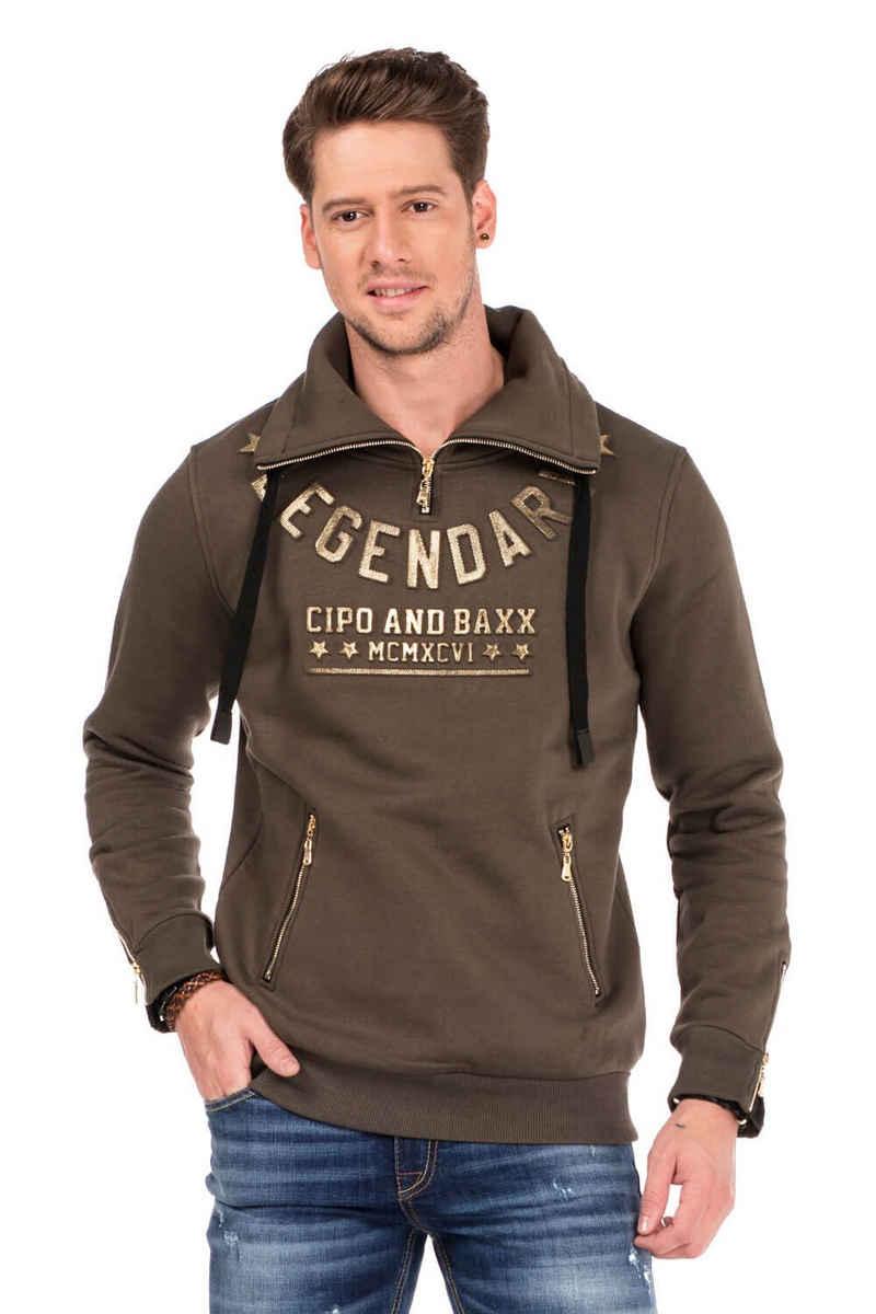 Cipo & Baxx Sweatshirt mit Schlauchkragen