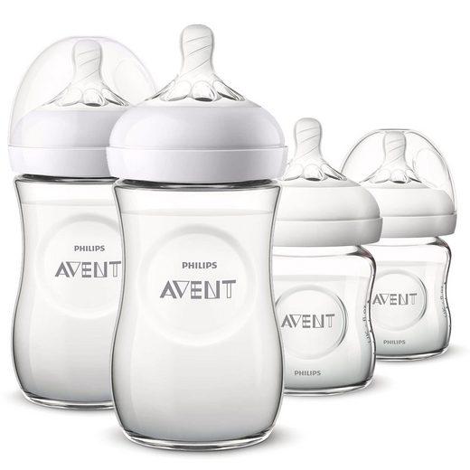 Philips AVENT Babyflasche »Glas - Flaschen-Set - Natural«, 4-tlg. Neugeborenen-Starter-Set