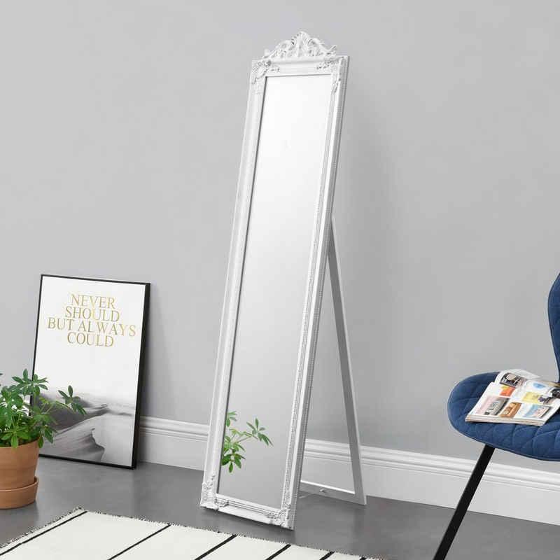 en.casa Standspiegel, »Arezzo« Ganzkörperspiegel kippbar 160x40cm weiß