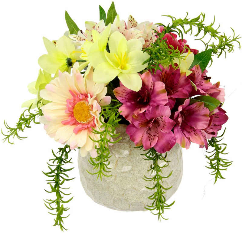 Kunstblume »Arrangement Blüten«, I.GE.A., Höhe 23 cm, Topf aus Keramik