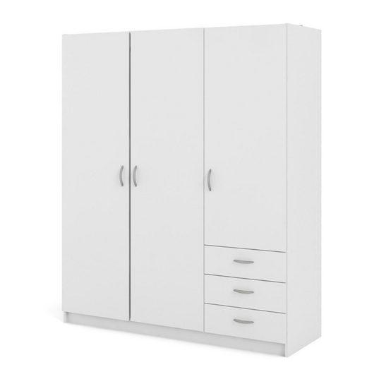 ebuy24 Kleiderschrank »Fox Kleiderschrank 3 Türen und 3 Schubladen weiss.«