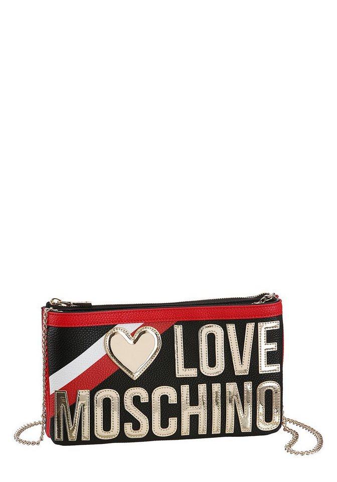 love moschino -  Clutch, mit Logo Schriftzug in Metallic Optik