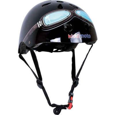 Kiddimoto Kinderfahrradhelm »Fahrradhelm - Black Goggle, Schwarz Pilot - S«