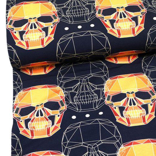 larissastoffe Stoff »French Terry, Sweat Stoff Skull Totenkopf schwarz-«, Stoffe zum Nähen, Meterware, 50 cm x volle Breite