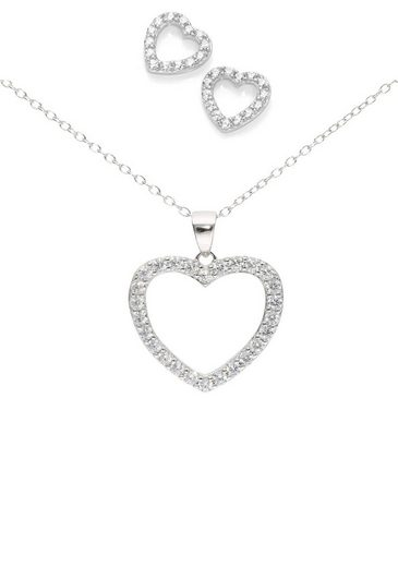 Firetti Ohrring und Ketten Set »Ohrrstecker und Halskette, Herzen, rhodiniert, Glanz« (Set, 4-tlg), mit Zirkonia