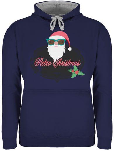 Shirtracer Hoodie »Retro Christmas Weihnachstmann - Weihnachten & Silvester - Unisex Damen & Herren Kontrast Hoodie«