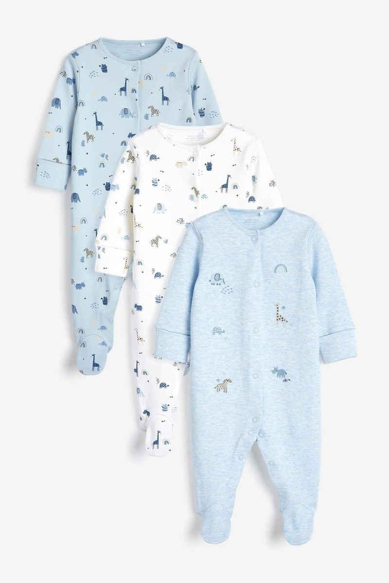 Next Schlafoverall »Pyjamas mit Stickereien, 3er-Pack« (3-tlg)