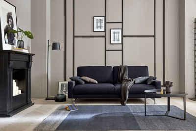 hülsta sofa 3-Sitzer »hs.450«, Fußgestell Chrom glänzend, Breite 204 cm, wahlweise in Stoff oder Leder, mit schmaler Armlehne