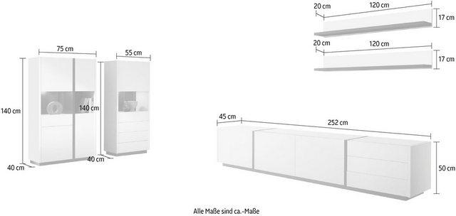 Wohnwände - INOSIGN Wohnwand »CAiO«, (Set, 5 St), Breite ca. 418 cm  - Onlineshop OTTO