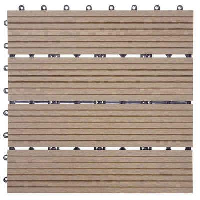 MCW WPC-Fliesen »Sarthe«, Set, 11 St., bestehend aus 11x je 30x30cm = 1qm, Witterungs- und UV-Beständig, Holzoptik, Hitze- und Kälteisolierend