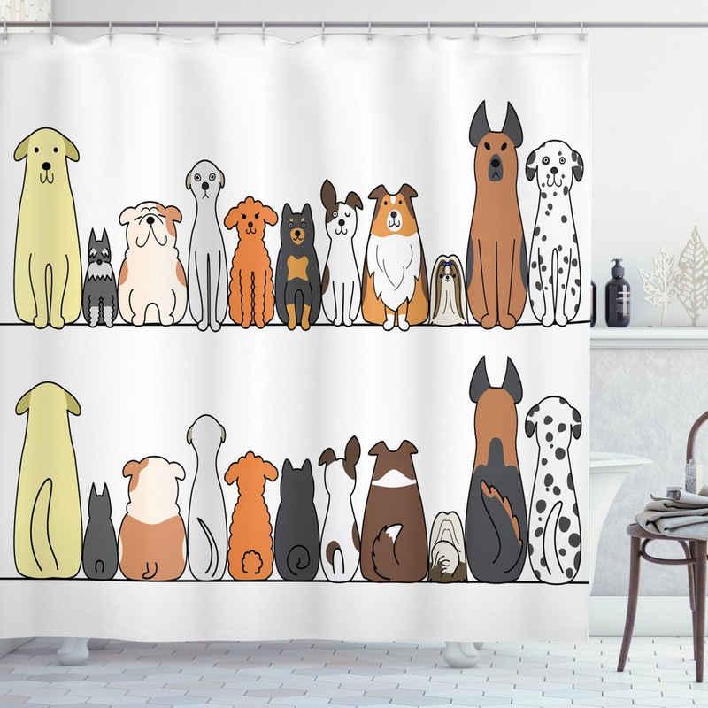 Abakuhaus Duschvorhang »Moderner Digitaldruck mit 12 Haken auf Stoff Wasser Resistent« Breite 175 cm, Höhe 180 cm, Hund Hundefamilie in einer Reihe