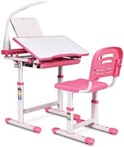 COSTWAY Kinderschreibtisch »Kinderschreibtisch-Set«, neigungsverstellbar, Kindertisch mit Stuhl, Schreibtisch mit Schublade, Rosa