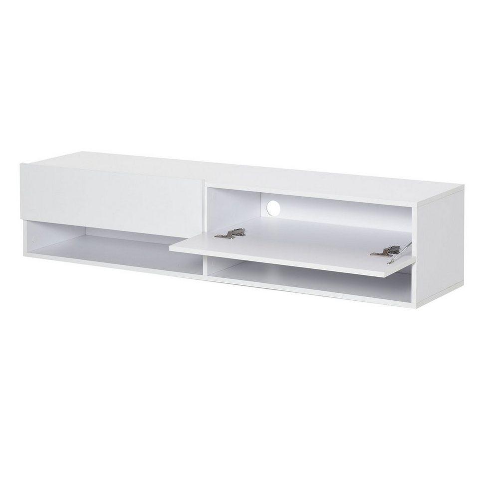 HOMCOM TV Schrank Spanplatte Wandschrank TV-Kommode H/ängeschrank Moderner Fernsehtisch mit Schubladen und Offene Regale Wei/ß 140 x 32 x 31 cm Lowboard