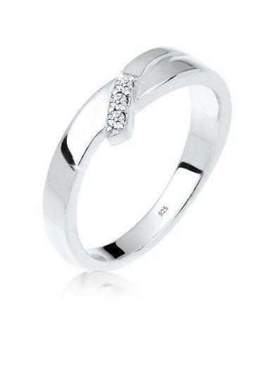 Diamore Diamantring »Verlobung Trio Diamant (0.04 ct) 925 Silber«, Verlobungsring