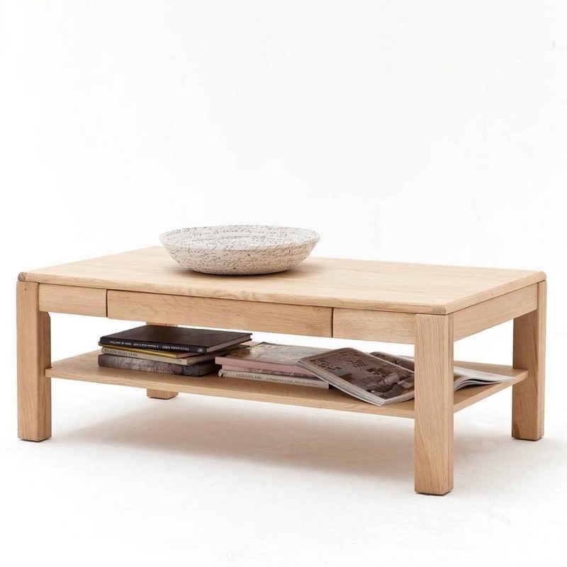 Lomadox Couchtisch »TIJUANA-05«, Wohnzimmer-Tisch aus massiver Eiche Bianco, mit Ablage & Schublade - B/H/T: 115/42/65cm