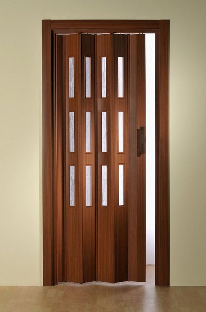 Kunststoff-Falttür, nach Maß, mit Fenster Riffelstruktur, in mahagonifarben