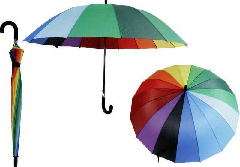 dynamic24 Partnerschirm, XXL Regenschirm 120cm Partnerschirm 2 Personen Schirm Familie Regenbogen bunt