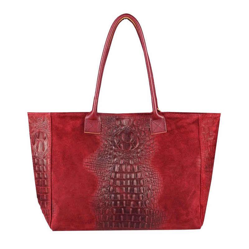 ITALYSHOP24 Shopper »Made in Italy Damen Leder Tasche Schultertasche«, mit Kroko-Prägung, als Handtasche, Henkeltasche tragbar
