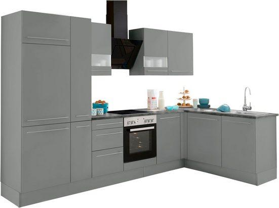 OPTIFIT Winkelküche »Bern«, mit E-Geräten, Stellbreite 315 x 175 cm, mit höhenverstellbaren Füßen, gedämpfte Türen und Schubkästen, Metallgriffe