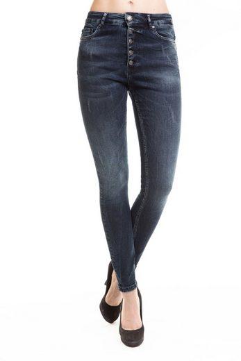 Zhrill Slim-fit-Jeans »Leona Button« Zhrill Damen Jeanshose Röhrenjeans 5 Pocket Vintage Skinny Fit Leona Button