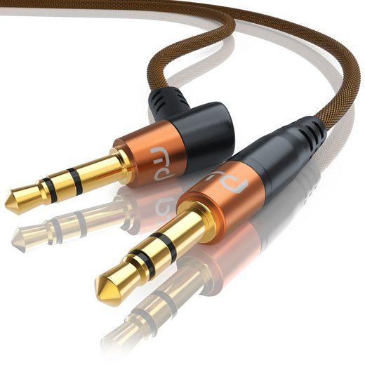 Primewire Audio-Kabel, 3,5-mm-Klinke (110° Winkel); 3,5-mm-Klinke (gerade) (200 cm), gewinkeltes 3,5mm AUX Audio Klinkenkabel