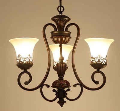 Natsen Kronleuchter, 21W Antik Retro Deckenleuchte Deckenlampe Lüster Metall + Glas 3 * 7W E27