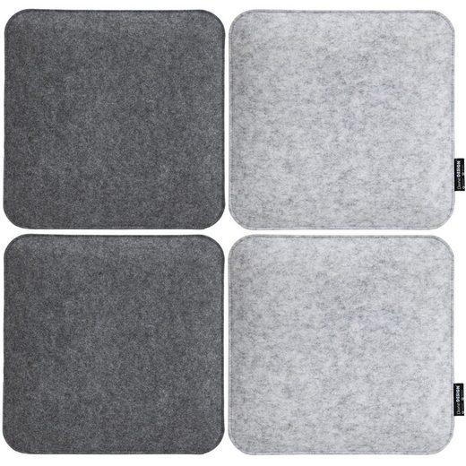 DuneDesign Stuhlkissen »4 Filz Sitzkissen eckig Stuhlkissen Sitzauflage«, 35x35x3cm 2 farbig grau weich
