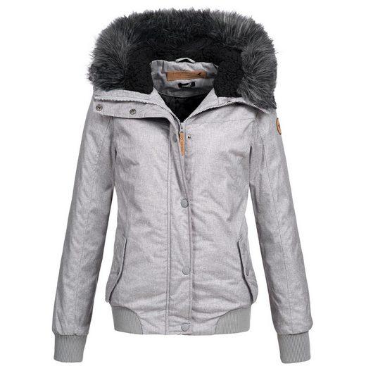 Eight2Nine Winterjacke »OM44278« Damen Winter Jacke mit Kapuze und Kunstfellbesatz