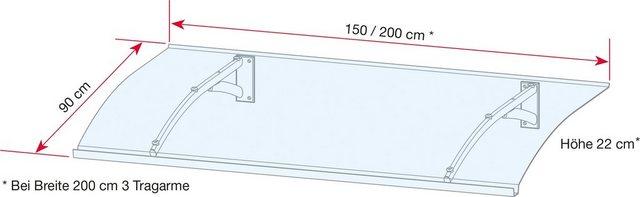 Gutta Pultvordach »TYP PT SECCO«, BxT: 200x90 cm, anthrazit-transparent   Baumarkt > Modernisieren und Baün > Vordächer   GUTTA