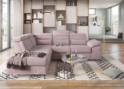 sit&more Ecksofa, mit Sitztiefenverstellung und Federkern, wahlweise mit Bettfunktion und Bettkasten, jeweils inklusive 3 Nierenkissen, frei im Raum stellbar