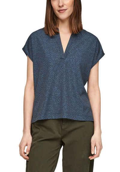 s.Oliver V-Shirt mit Allover Print vorne und schönem V-Ausschnitt