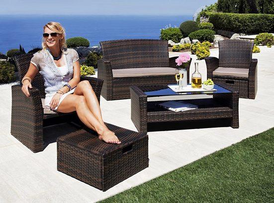 KONIFERA Loungeset »Salerno Premium«, (9-tlg), 2er-Sofa, 2 Sessel, Fußhocker, Tisch, Polyrattan
