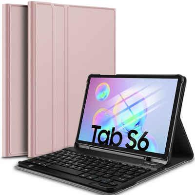 IVSO »Tastatur Hülle für Samsung Galaxy Tab S6 Lite (Deutsches QWERTZ),« Tablet-Tastatur (Ständer PU Schutzhülle mit magnetisch Abnehmbarer Kabellose Tastatur für Samsung Galaxy Tab S6 Lite 10,4 Zoll 2020)