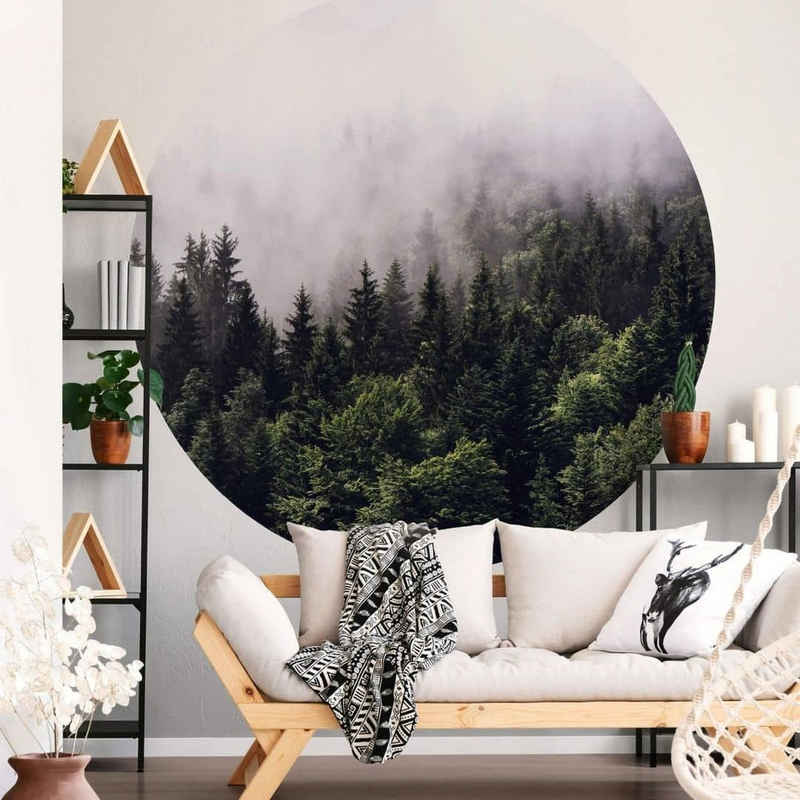 K&L Wall Art Fototapete »Runde Fototapete Nebel im Wald Tapete Tannenwald Vliestapete Wandbild«, Nebelwald