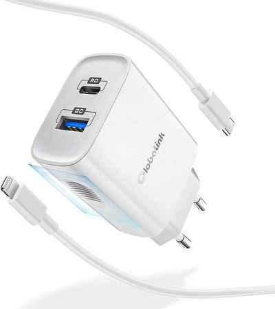 GlobaLink »GlobaLink 20W iPhone Ladestation mit USB Schenllade-Gerät« Schnelllade-Gerät (20W mA, Ein Stecker mit ein Lightning Kabel, 1-tlg., 2 Port USB Ladestation, GlobaLink Schnellladegerät 18W, 2 Port iPhone Fast Charger+2m Typ C auf Lightning Kabel [Apple MFi Zertifiziert] USB C Ladegerät kompatibel mit iPhone 11/12 Pro Mini Max/SE 2020/8/X XR XS, iPad Pro)
