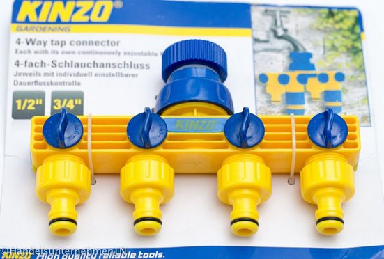 dynamic24 4-Wege Verteiler, 4-fach Verteiler Schlauchanschluss Anschluss Wasseranschluss für Gartenschlauch