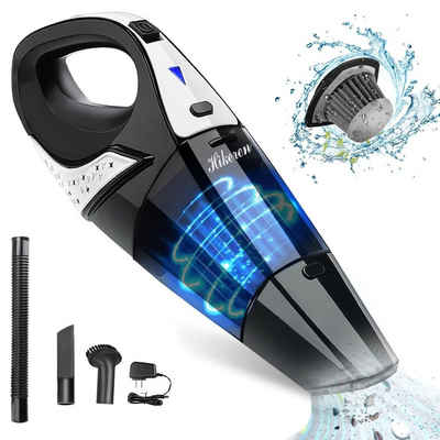 Hikeren Handstaubsauger H-305 beutellos, Akku Handstaubsauger Nass & Trocken Mit 2 Edelstahl filter, 100 Watt, beutellos, Ladekontrollleuchte